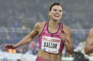 Sanna Kallur under sitt första riktiga häcklopp på åtta år.