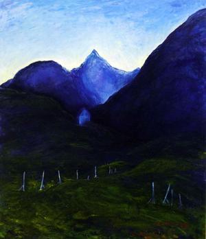 Blått hus, oljemålning 1982.