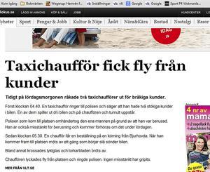 Från Nätet. VLT.se:s korta notis om taxiöverfall blev en av helgens mest lästa.