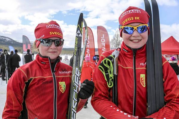 Tilde Ingvarsson och Arvid Jönsson, båda elva år och debutanter i Pilgrimsloppet, körde in på knappt två och en halv timme.