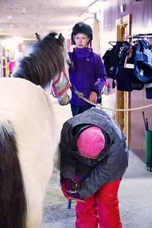 Det är mycket jobb som ska göras med hästarna innan man kan rida ut på dem. Här får Elice Sundström hjälp av mamma Malin med att kratsa hovarna på Isak.