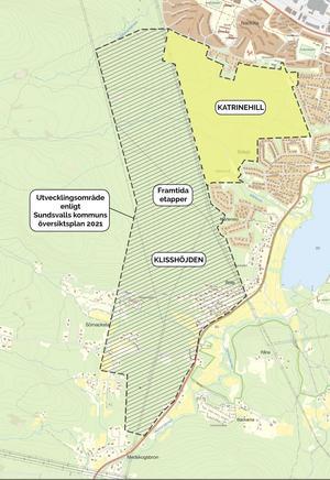Tanken är att Katrinehill bara är en första etapp på ett  område som i framtiden kan bli mycket större. Bild: Stadsbyggnadskontoret