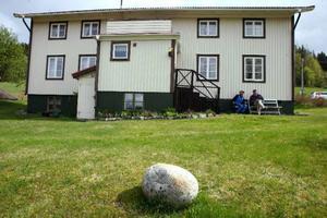 Valter är van att bära bort sten. Men den här stenen tyckte han var vackert rundslipad så den fick pryda gräsmattan hemma på gården.