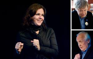Cecilia Olsson, Håkan Larsson (överst) och Mats Hallgren stod för varsin del när Centerpartiet bjöd in till kampanjmöte på tisdagskvällen: underhållning, politik och information.