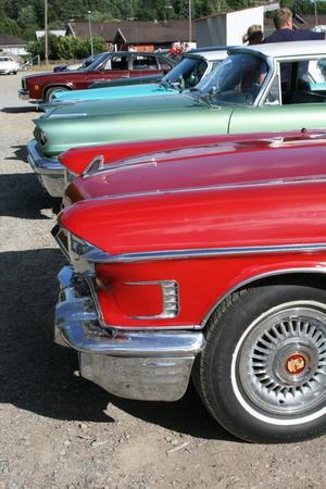Här ses några av de bilar som deltog i veteranbilsrallyt runt Möklinta. Foto: Lova Jansson