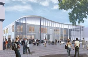 Galleriabyggnaden på Brotorget som den är tänkt att se ut.