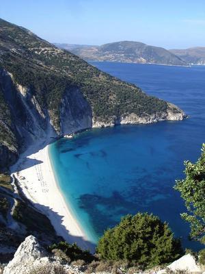 Kefalonias berömda strand, Myrthos.