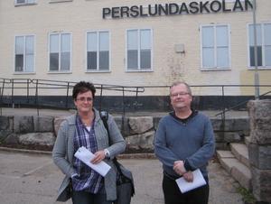 Lena Larsson och Kent Sjöstrand, skyddsombud på  Perslundaskolan.