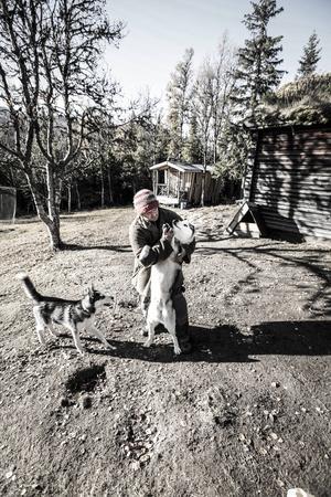 Richard Reese med Fjäll, en av deras Siberian Huskys.