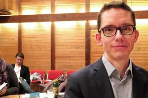 Johan Loock (M) på onsdagens fullmäktigemöte.