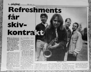 SKIVOR. 1995 fick bandet skivkontrakt med BMG, skrev Arbetarbladet i maj det året.