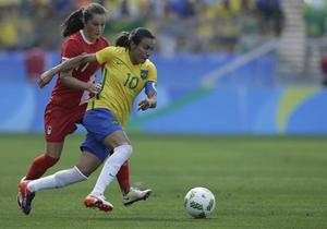 Marta och Brasiliens fotbollsdamer blev utan medalj i OS. Kanada vann bronsmatchen med 2–1.