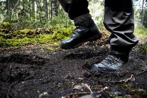 Där stigarna går över blötare marker är det bra med grova, vattentäta kängor eller stövlar.