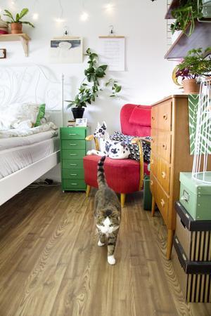 I sovrummet finns både riktiga djur och porslinsdjur. Ödesträdet har Ina tejpat upp på väggen.