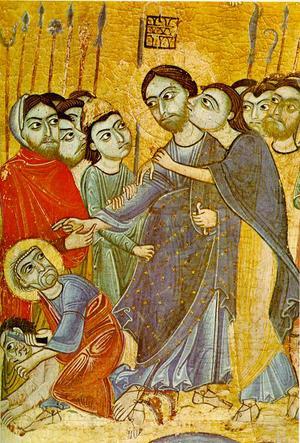 Judas förråder Jesus med en kyss. Målningen är från 1100-talet och kan ses på konstmuseet Uffizierna i Florens.