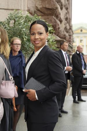 Alice Bah Kuhnke, kultur- och demokratiminister, (MP) anländer till riksdagens öppnande i riksdagshuset i Stockholm.
