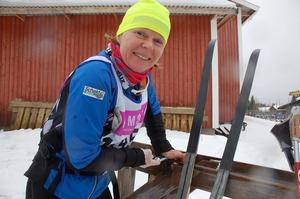 Annelie Gustafsson från Hindås åkte Öppet spår med mycket klistervalla under skidorna.