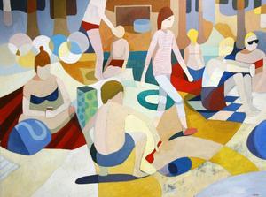 """Från vänster, """"I tvättstugan"""", """"Lillsjön 1"""" och """"Drosophilia"""", av Lennart Samor, den sistnämnda är en bananfluga i hans tolkning. Just nu på Lars Bolin Gallery."""