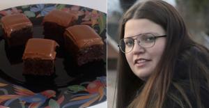 Josefine Bornströms chokladbrownies föll konditorjuryn i smaken. Foto: Privat och Fagersta-Posten/arkiv