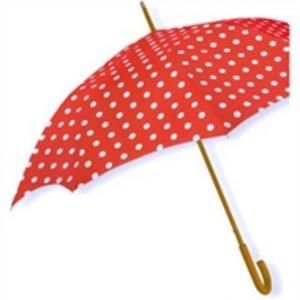 Som en flugsvamp – men mindre giftigt – är detta chicka paraply. Kanske för den som vill synas eller göra sin omvärld lite gladare. Finns hos Www.systerlycklig.se