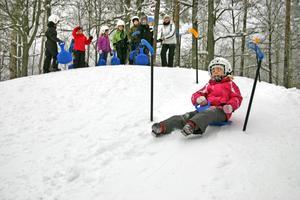 Lina Alexandersson hade bra glid nerför kullen.