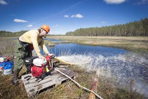 Vatten hämtades med pumpar från närliggande vattendrag.
