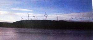 Så här skulle det kunna komma att se ut efter en utbyggnad av vindkraft på Garpkölen söder om Ängersjö. Fotografiet är ett montage.Foto: Leif Eriksson