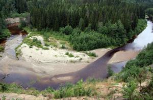 Mjällån har skurit sin väg genom de mäktiga lagren av grus, sand och mjäla, en process som fortfarande omformar naturen.