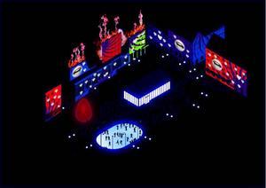 Arenan, som torget ska kallas under de här veckorna, får ett eget, magnifikt ljusspel, restaurang och skridskobana.  Illustration: Luxera