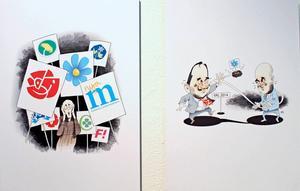 Förre LT-medarbetaren och illustratören Kjell Nilsson-Mäki är vass på karikatyrer.
