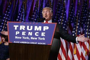 President-elect Donald Trump speaks during an election night rally, Wednesday, Nov. 9, 2016, in New York. (AP Photo/ Evan Vucci)