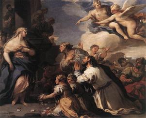 Psyche, världens vackraste kvinna, blir dyrkad som en gudinna. Oljemålning av Luca Giordano från sent 1600-tal.