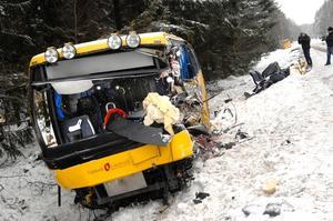Det var i slutet av februari 2007 som den tragiska bussolyckan på väg 288 utanför Rasbo tog sex personers liv. Foto: Scanpix
