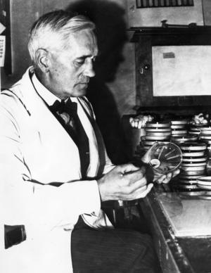 Alexander Fleming som 1969 fick Nobelpris för upptäckten av penicillinet.