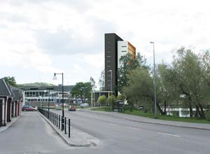 Så här skissas hotellet vid simhallen på en pressbild.