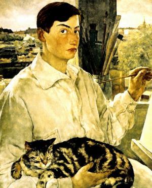 Självporträtt med katt. Målning av Lotte Laserstein.