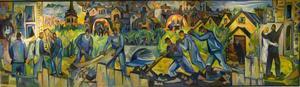 """FRAMTIDSDRÖMMAR. Barn och gamla, arbetare och kärlekspar blickar framåt i panoramat """"Staden bygger"""" från 1953."""