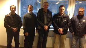 Ledarna i nya laget. Kent Carlsson materialare J20, Anders Jansson tränare J20, Leif Jonsson lagledare J20, Ronny Pihl lagledare J18, Janne Hallgren tränare J18.