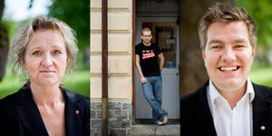 Från vänster; Boel Godner och Alexander Lindholm som ska slåss om ordförandeposten i kommunstyrelsen och Elof Hansjons som är valberedningens förslag på nytt kommunalråd efter Susanne Bergström.
