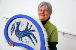 Kerstins bidrag. Det här lövet tillverkat av Kerstin Rundlöf ska pryda jubileumsträden när Svensk Hemslöjd firar 100 år.