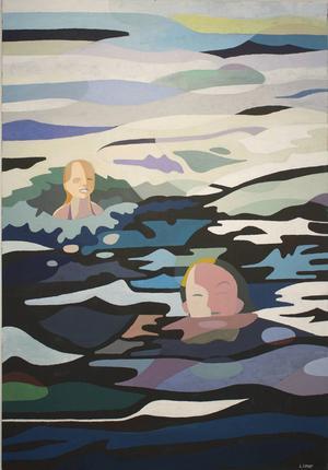 Morgonbad, akrylmålning av Lennart Samor.