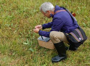 Anders Janols under inventering av ängssvampar i en fäbod i Gagnefs kommun.