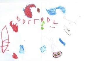 Thuva 3 år från Gävle, önskar God Jul med sin teckning.