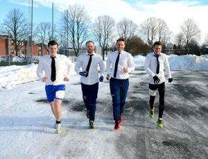 Linus Lauri, Emil Johansson, Björn Norman och Johan Aronsson sprang i finskjortor, dagen till ära.IPTC-information: Foto: Samuel Borg