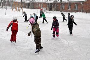 På hal is. Elever på Tulpanens skola i Fjugesta.