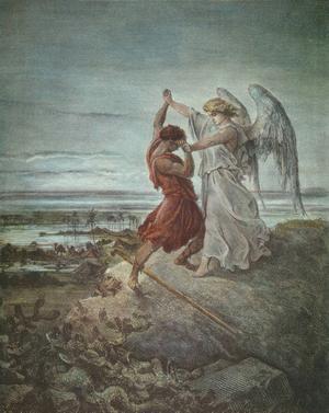 Jakob brottas med ängeln (1 Mos. 32:22-32). Illustration: Gustave Doré