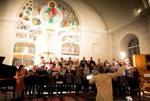 Den för kvällen hopsatta kören spred energi och glädje i hela kyrkorummet med hjälp av Anders Nyberg.