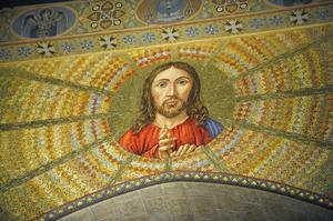 Takmålning med bild av Jesus i katedralen i Syracrusa.