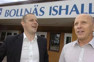 Bollnäs IS Danne Nordin, till höger, tillsammans med Fredrik Nilsson.