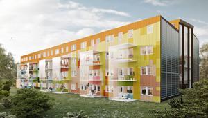 Flerfamiljshuset i Kvissleby får 48 lägenheter. Men när insatsen höjdes kraftigt så hoppade ungefär hälften av köparna av.
